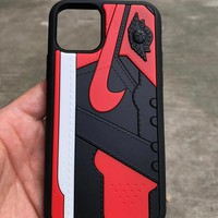 Jordan 1 Retro - Silicone Protective Iphone Case - Black & Red