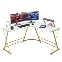 """Mr IRONSTONE L-Shaped Desk 50.8"""" Computer Corner Desk, Home Gaming Desk, Office Writing Workstation with Large Monitor Stand, Space-Saving, Easy to Assemble(Laminate Marble) White Marble Top + Gold Frame"""