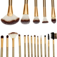 ACEVIVI 18pcs Professional Wooden Handle Cosmetic Makeup Brush Set Kit with Case