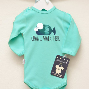 Crawl Walk Fish Baby Bodysuit. Funny Fish Baby Romper. Infant Baby Clothes. Trendy Baby Clothing. Many Colors Available.