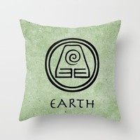 Avatar Last Airbender Elements - Earth Throw Pillow by Bdubzgear