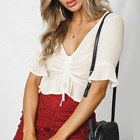 Chiffon Blouse Shirt Red Half Flare Sleeve Casual Women Blouse V Neck Sexy Short Blouse Shirt Top