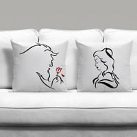 Beast and Beauty Disney Couples Square Pillow Covers Pillow Case Gift Couples Case