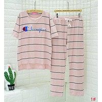 Champion Popular Women Leisure Embroidery Short Sleeve Top Pants Trousers Pink Stripe Nightgown Pyjamas Set Two-Piece 1# I13432-1