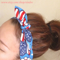 American Flag Peace Daisy Dolly Bow Headband