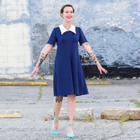 vintage polyester dress / 60s dress large / fit and flare dress / nautical sailor dress collared dress / 1960s dress scooter mod dress large