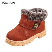 Xemonale Children Boots Boys Girls Winter Snow Boots Plush Lined Cow Leather Waterproof Baby Shoes Kids Martin Sneakers Oxford