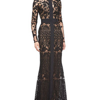 Elie Saab Long-Sleeve Sheer Embroidered Lace Gown