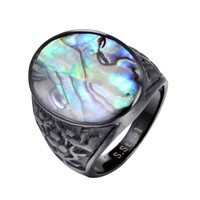 Men Square Black Carnelian Semi-Precious Stone Signet Ring in Gold Tone Stainless Steel for Male Jewelry
