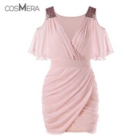 CosMera Pink Bodycon Dress 2018 Women Sequins Vestido Summer Party Cold Shoulder Dress Vestidos De Festa Sexy Dress Club Wear