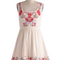 ModCloth Folk Art Mid-length Tank top (2 thick straps) A-line Judy Blue Skies Dress in Ivory