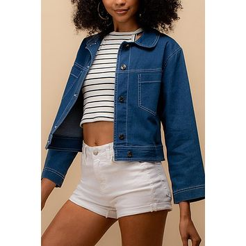 Casual Relaxed Fit Button Down Denim Jean Jacket with Pockets