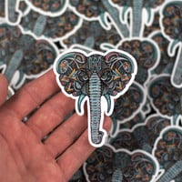Elephant, Elephant Sticker, Hand Drawn Elephant Design Laptop Sticker, Tribal Elephant Art, Art Sticker, Bumper Sticker, Laptop Sticker