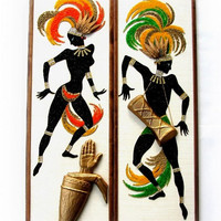 60's Native Calypso Dancers Gravel Mosaic Wall Panel Art Pictures Tropical Tiki Exotic Danish Modernist Eames Era Picturesque