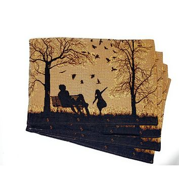 """DaDalogy Bedding Set of 4 PCs Autumn Breeze Family Gathering Blessing Tapestry Placemats 13"""" x 19"""" (18198)"""