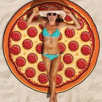 Pizza Round Beach Towel Cover-up