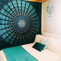 ICIKJG2 Indian Mandala Tapestry Hippie Wall Hanging Green Bohemian Bedspread Home Decor -NG