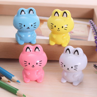 Cute Kawaii Cartoon Cat Plastic Pencil Sharpener Machine For Kids Gift School Supplies Korean Stationery Free Shipping 485