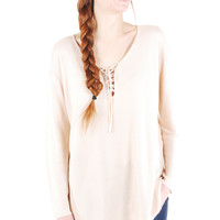 Mellow Mornings Lace Up Knit