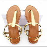 Fashion  lady flat heels Leather  Sandals  Shoes gold pink black blue 4 colors 6013