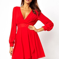 V-neck Chiffon Cuff Sleeve A-line Pleated Mini Dress