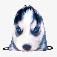 Animal Husky 3d Print Drawstring Bags Mochilas Who Cares Brand Cute Backpack Men's Travel Bag School Bags for Teenagers Mochila