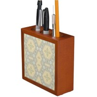 Cute Yellow and Gray Vintage Geometric Pencil/Pen Holder