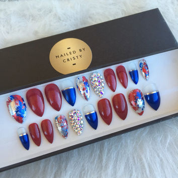 4th of July Press On Nails | Red White and Blue | Any Shape | Swarovski Crystals | Nail Art Design