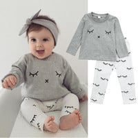 Newborn Infant Baby Boys Girls T-Shirts Top Long Sleeve High Quality Tops + Pants Clothes Set Outfit Autumn