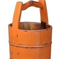 Antique Revival Crested-Handle Wooden Water Bucket, Orange