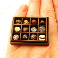 Kawaii Chocolate Ring Box Of Chocolates in Box by SouZouCreations