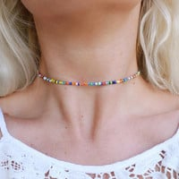 Rainbow Luster Beaded Choker Necklace