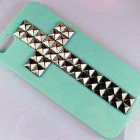 Iphone 5 hard case, Silver pyramid stud rivet with light green case for iphone 5 case