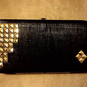 Studded Sexy Rocker Chic Clutch-Black-Silver-Gold