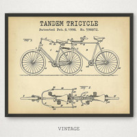 Tandem Tricycle Patent Wall Art, Tandem Bikes Poster, Digital Download, Bicycle Print, Bike Wall Art, Vintage Printable Tandem Blueprint Art