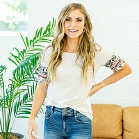 NEW! Lucy Top with Sleeve Detail - Oatmeal