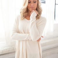 Oversized V-Neck Knit Sweater - Ivory