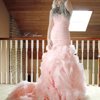 Custom made Rose Pattern Organza Sweetheart  Ball Bridal Gown with Corset Back. Pink / Blush Wedding Dress,Non-traditional bride