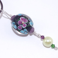 Amethyst blue green glass bead pendant brown leather cord necklace, Adjustable leather string, Purple green Swarovski crystal, Floral choker