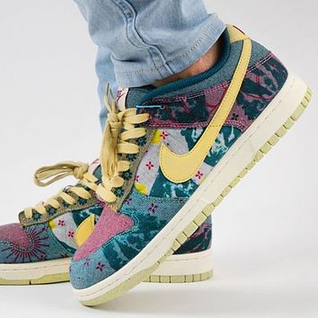 "Nike SB Dunk Low ""Lemon Wash"" colorblock tie-dye printing water wash low-top casual sports skateboard shoes sneakers"