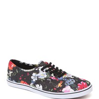 Vans Authentic Lo Pro Black Floral Sneakers - Womens Shoes - Floral