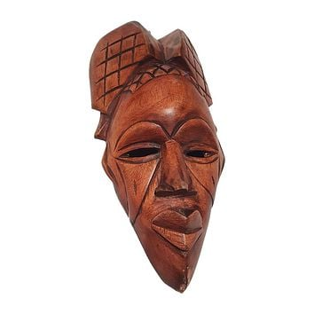 "1 Piece of 12"" African Wood Mask in Brown"