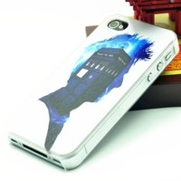 Clear Snap On Case IPHONE 4 4s Plastic Cover - Doctor Who Tardis Police Box Pattern + Screen Protector