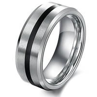 Classic Contracted Between Black Fine Tungsten Steel Men's Ring
