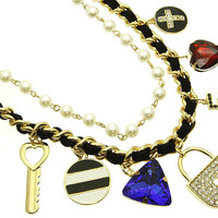 NECKLACE / LOCK & KEY CHARMS / LINK / METAL / FABRIC / PEARL BEAD / CRYSTAL STONE PAVED / EPOXY / 1 1/3 INCH DROP / 18 INCH LONG / NICKEL AND LEAD COMPLIANT