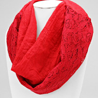 Red Infinity Floral Scarf