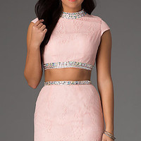 Short Two Piece Lace High Neck Dress
