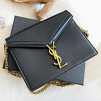 Hipgirls YSL New fashion leather chain shoulder bag crossbody bag  Black