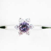 Alexandrite Halo Ring Sterling Silver