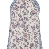 chiffon tank with high neck in paisley print